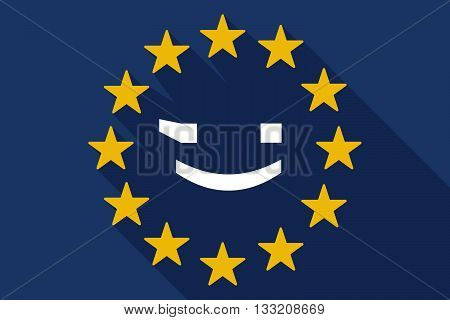 Long Shadow Eu Flag With  A Wink Text Face Emoticon
