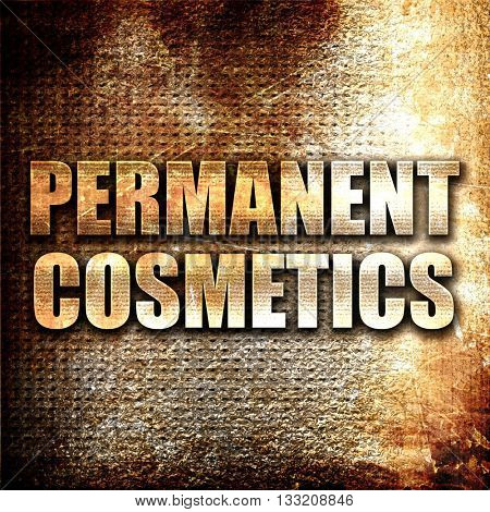 permanent cosmetics, 3D rendering, metal text on rust background