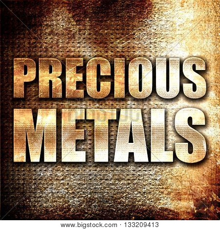 precious metals, 3D rendering, metal text on rust background