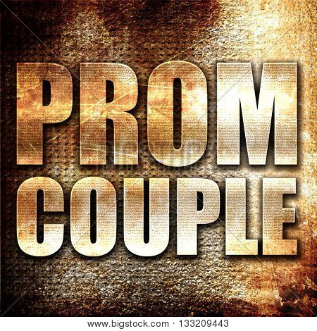 prom couple, 3D rendering, metal text on rust background