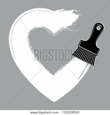 Love and romance object hand-drawn heart shape created with brushstrokes. Vector symbol can be used in wedding theme.