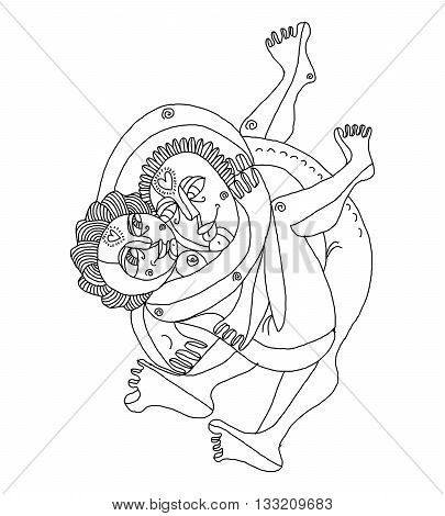 Vector hand drawn monochrome illustration of heterosexual couple making love. Man embraces woman art image relationship and love theme.