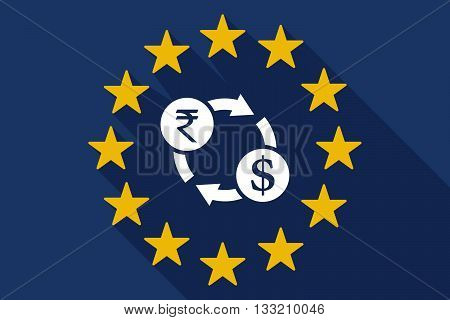 Long Shadow Eu Flag With  A Rupee And Dollar Exchange Sign
