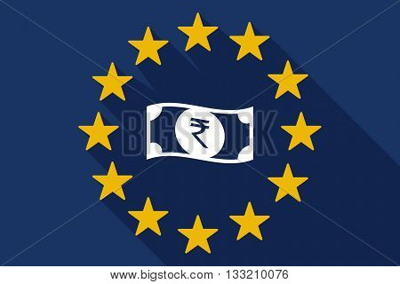 Long Shadow Eu Flag With  A Rupee Bank Note Icon