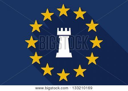 Long Shadow Eu Flag With A  Rook   Chess Figure
