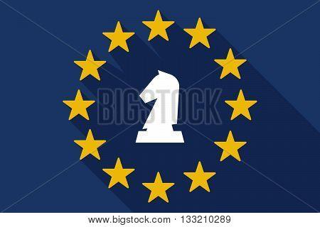 Long Shadow Eu Flag With A  Knight   Chess Figure