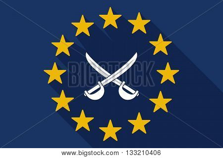 Long Shadow Eu Flag With  Two Swords Crossed