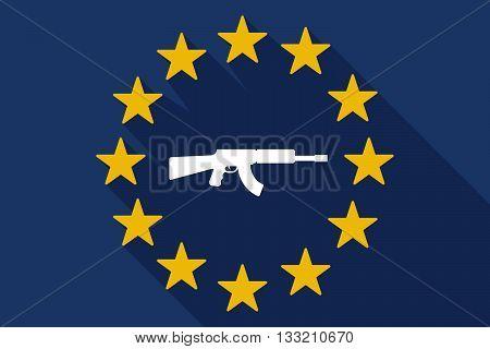 Long Shadow Eu Flag With  A Machine Gun Sign