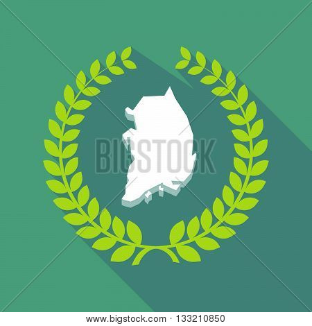 Long Shadow Laurel Wreath Icon With  The Map Of South Korea