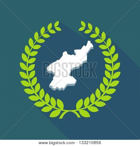 Long Shadow Laurel Wreath Icon With  The Map Of North Korea