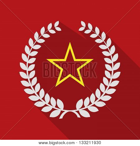 Long Shadow Laurel Wreath Icon With  The Red Star Of Communism Icon