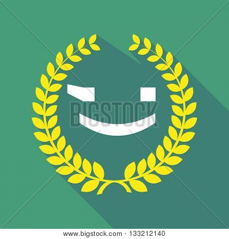 Long Shadow Laurel Wreath Icon With  A Wink Text Face Emoticon