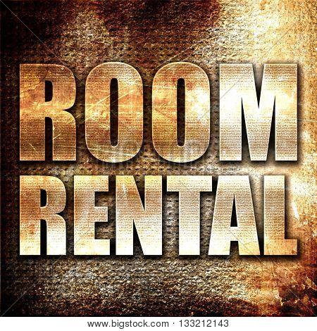 room rental, 3D rendering, metal text on rust background