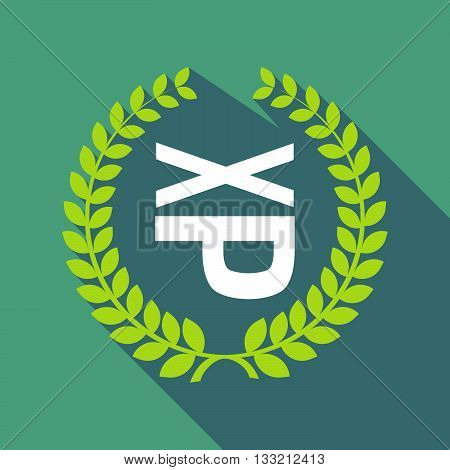 Long Shadow Laurel Wreath Icon With  A Tongue Sticking Text Face Emoticon
