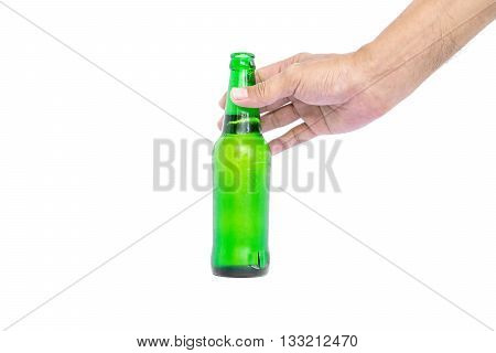 Hand holding the glass bottles for beer, alcohol or other beverage industry isolated on white background.