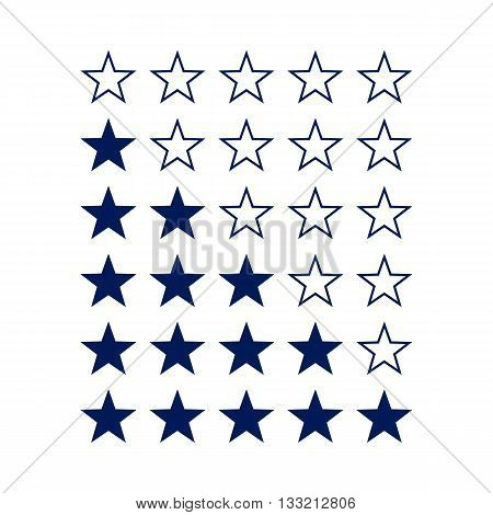 Simple Stars Rating. Dark Blue Shapes on White Background