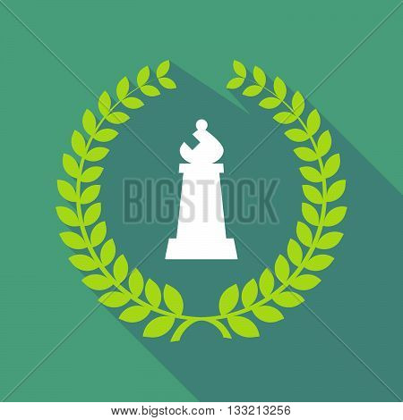 Long Shadow Laurel Wreath Icon With A Bishop    Chess Figure