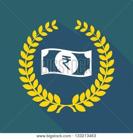 Long Shadow Laurel Wreath Icon With  A Rupee Bank Note Icon