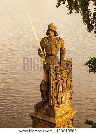 Knight Bruncvik, or Brunclik, statue on Charles bridge in Prague, Czech republic.