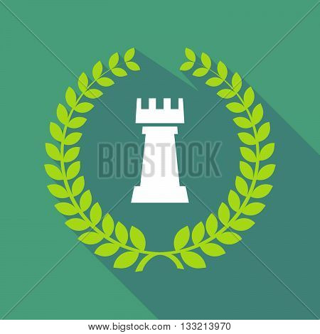 Long Shadow Laurel Wreath Icon With A  Rook   Chess Figure