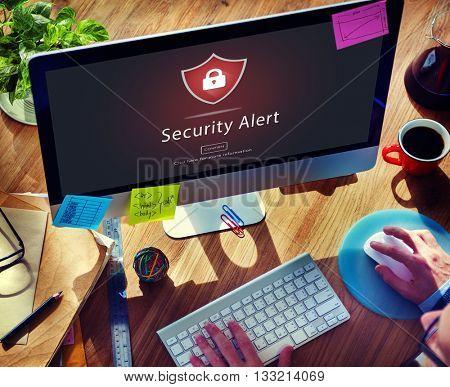 Warning Security Alert Warning Secured Website Concept