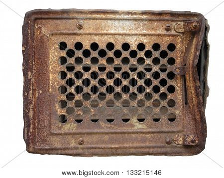 Old rusty metal ventilation grate isolated on white.