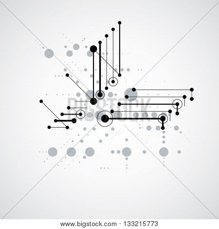 Modular Bauhaus monochrome vector background created from simple geometric figures like circles and lines. Best for use as advertising poster or banner design.