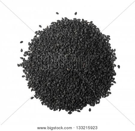 Top view of black sesame seeds isolated white