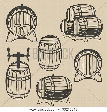 Vector set of barrels in vintage style. Collection barrels