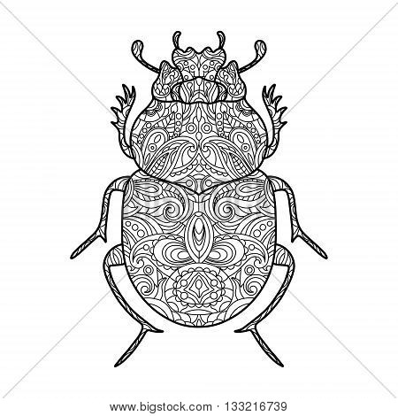 Scarab beetle coloring book for adults vector illustration.