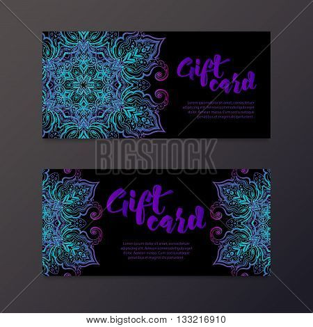 Rich gift certificates in the Indian style. Bohemian Cards with mandalas. Black and gold. Unique cards for printing supplies