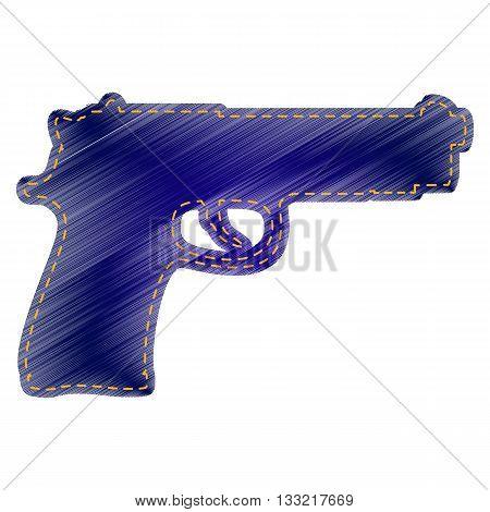 Gun sign illustration. Jeans style icon on white background.