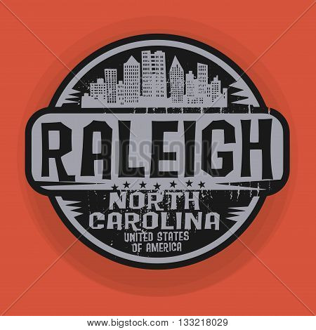 Stamp or label with name of Raleigh, North Carolina, vector illustration