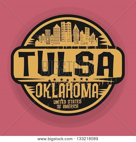 Stamp or label with name of Tulsa, Oklahoma, vector illustration