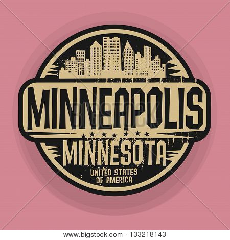 Stamp or label with name of Minneapolis, Minnesota, vector illustration