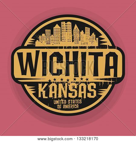 Stamp or label with name of Wichita, Kansas, vector illustration
