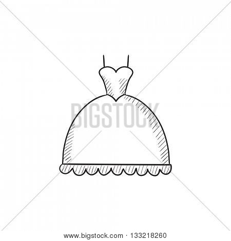 Wedding dress vector sketch icon isolated on background. Hand drawn Wedding dress icon. Wedding dress sketch icon for infographic, website or app.