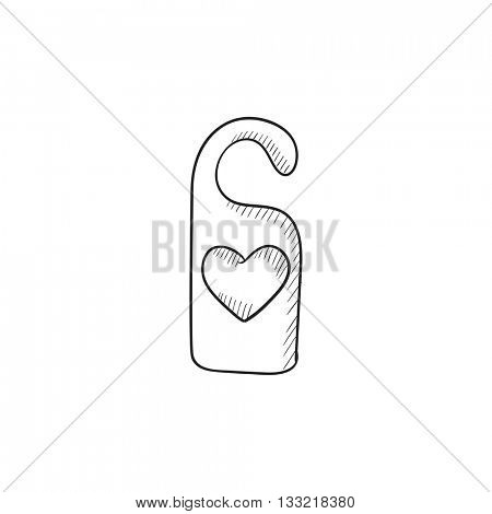 Door tag with heart vector sketch icon isolated on background. Hand drawn Door tag with heart icon. Door tag with heart sketch icon for infographic, website or app.