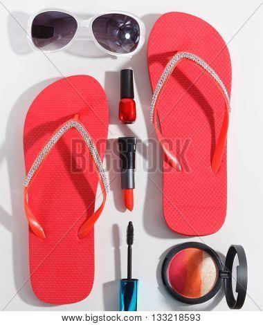 Close-up portraif of women summer beachwear accessories
