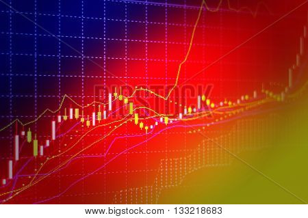 Business screen stock exchange data graph background