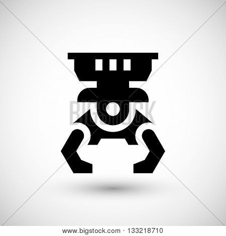 Robotic claw icon isolated on grey. Vector illustration
