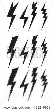 Set icons of different lightning. Vector element for your design