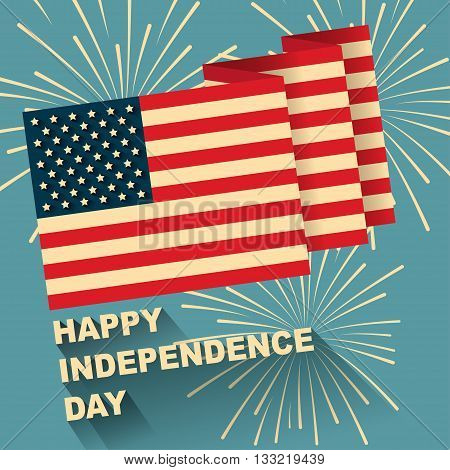 Illustration of American flag with Happy independence day text and firework with flat design.