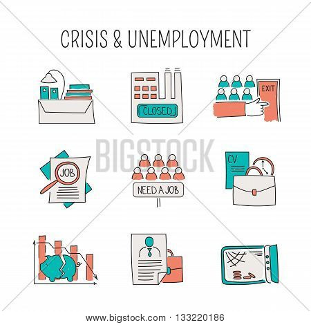 Hand drawn thin line icons set, vector illustration. Unemployment and crisis isolated symbols. Pictograms in color. Simple mono linear modern design.