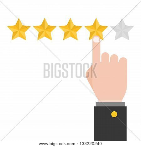 pointing hand and five review stars, feedback concept, customer review concept, flat design
