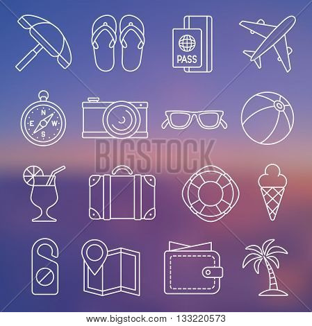 Vector illustration. Line icon set. Tourism and traveling in simple design.