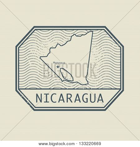 Stamp with the name and map of Nicaragua, vector illustration