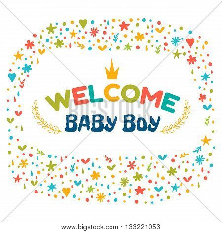 Baby Boy Shower Card. Welcome Baby Boy. Baby Boy Arrival Postcard. Baby Shower Greeting Card. Announ