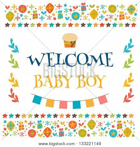 Welcome Baby Boy Shower Card. Arrival Card. Cute Postcard With Decorative Elements