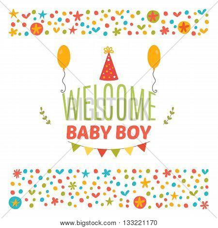 Welcome Baby Boy Shower Card. Arrival Card. Cute Postcard. Announcement Card